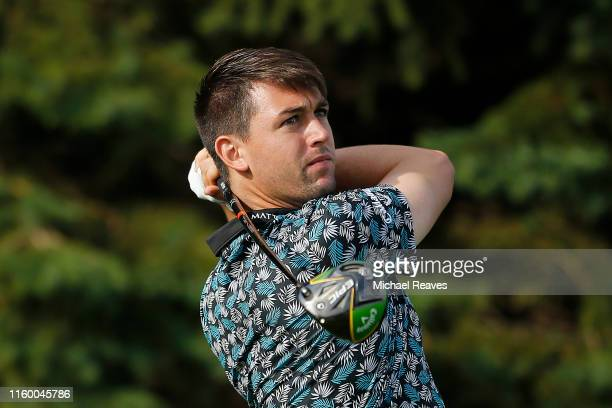 Ollie Schniederjans of the United States plays his shot from the second tee during the first round of the 3M Open at TPC Twin Cities on July 04, 2019...