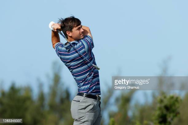 Ollie Schniederjans of the United States plays his shot from the first tee during the final round of the Bermuda Championship at Port Royal Golf...