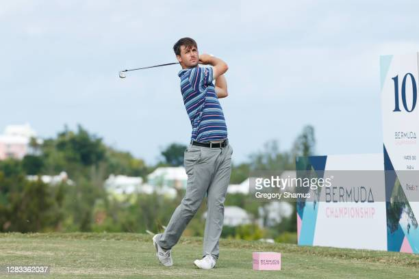 Ollie Schniederjans of the United States plays his shot from the tenth tee during the final round of the Bermuda Championship at Port Royal Golf...