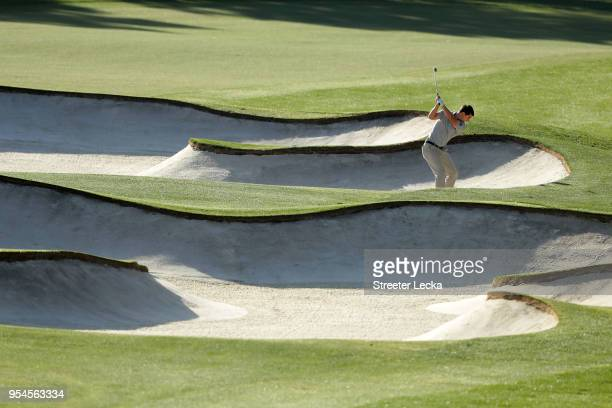 Ollie Schniederjans plays his second shot from a fairway bunker on the fifth hole during the second round of the 2018 Wells Fargo Championship at...