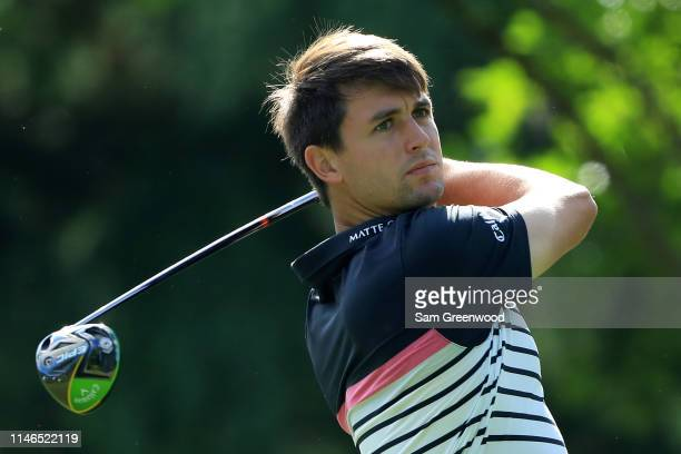 Ollie Schniederjans plays his shot from the 11th tee during the first round of the 2019 Wells Fargo Championship at Quail Hollow Club on May 02, 2019...