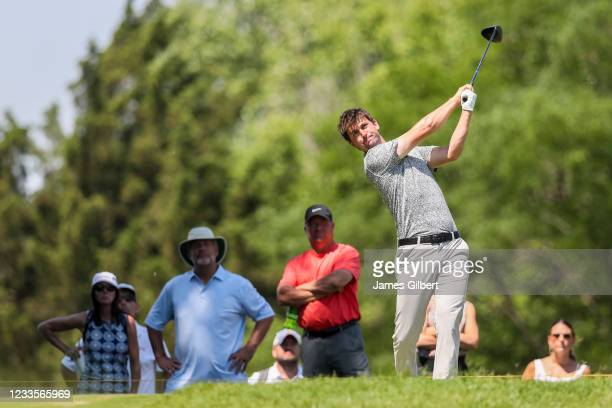 Ollie Schniederjans plays his shot from the 2nd tee during the final round of the Wichita Open Benefitting KU Wichita Pediatrics at Crestview Country...