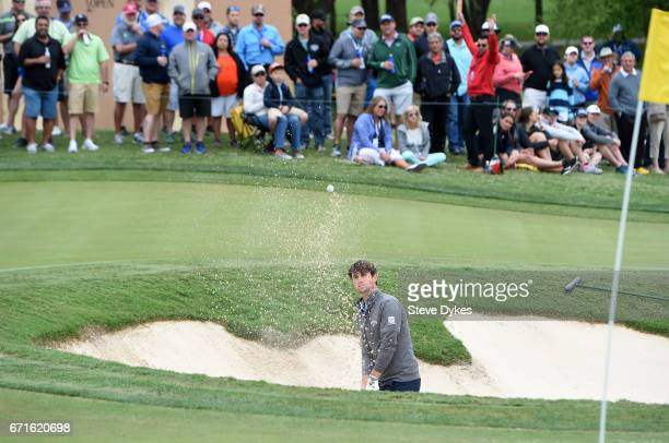 Ollie Schniederjans plays his shot out of the bunker during the third round of the Valero Texas Open at TPC San Antonio ATT Oaks Course on April 22...