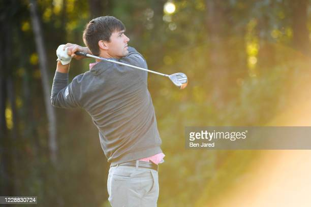 Ollie Schniederjans tees off on the fourth tee box during the first round of the Korn Ferry Tour Savannah Golf Championship at the Landings Club-Deer...