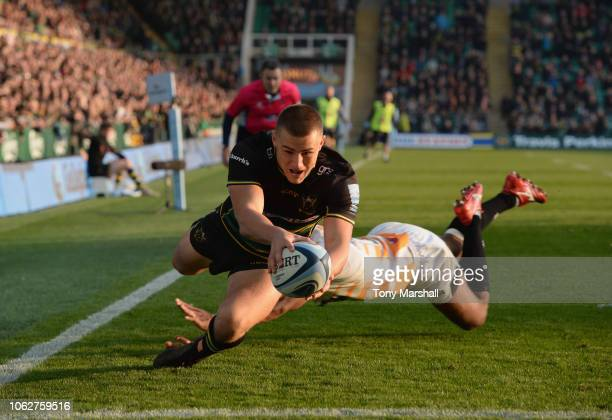 Ollie Sleightholme of Northampton Saints scoring a try on his Gallagher Premiership Rugby debut during the Gallagher Premiership Rugby match between...