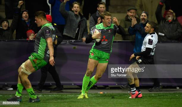 Ollie Thorley celebrates after scoring his fourth Gloucester try and Gloucester's tenth during the European Rugby Challenge Cup match between...