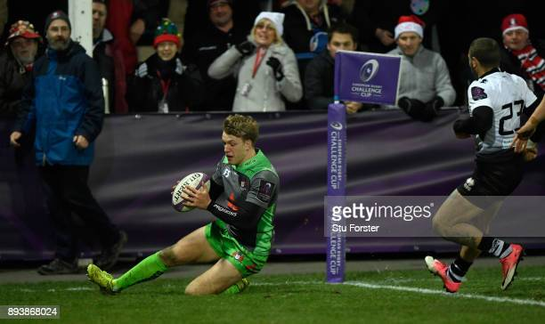 Ollie Thorley crosses for his fourth Gloucester try and Gloucester's tenth during the European Rugby Challenge Cup match between Gloucester Rugby and...
