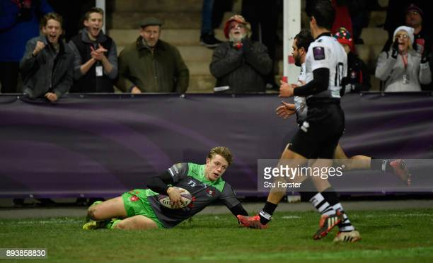 Ollie Thorley crosses for his third Gloucester try and Gloucester's ninth during the European Rugby Challenge Cup match between Gloucester Rugby and...