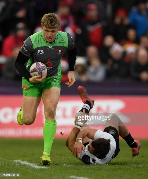 Ollie Thorley of Gloucester breaks through the Zebre defence during the European Rugby Challenge Cup match between Gloucester Rugby and Zebre at...