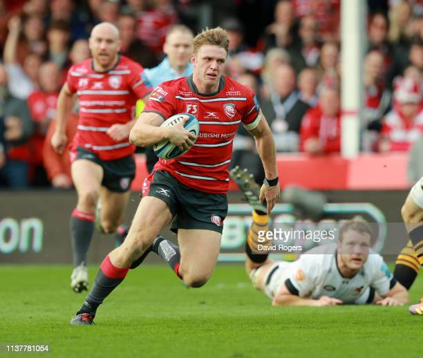 Ollie Thorley of Gloucester breaks with the ball during the Gallagher Premiership Rugby match between Gloucester Rugby and Wasps at Kingsholm Stadium...