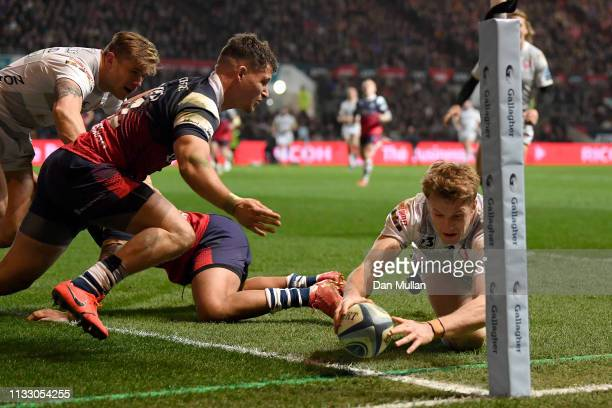 Ollie Thorley of Gloucester Rugby scores a try during the Gallagher Premiership Rugby match between Bristol Bears and Gloucester Rugby at Ashton Gate...