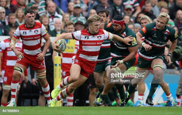 Ollie Thorley of Glouester breaks away with the ball during the Aviva Premiership match between Leicester Tigers and Gloucester Rugby at Welford Road...