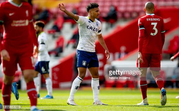 Ollie Watkins of Aston in action during the Premier League match between Liverpool and Aston Villa at Anfield on April 10, 2021 in Liverpool,...