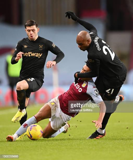 Ollie Watkins of Aston Villa battles for possession with Angelo Ogbonna and Aaron Cresswell of West Ham United during the Premier League match...