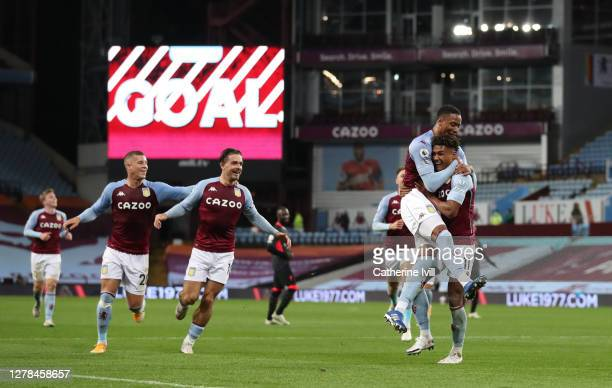 Ollie Watkins of Aston Villa celebrates after he scores his team's fourth goal and his Hat-trick during the Premier League match between Aston Villa...
