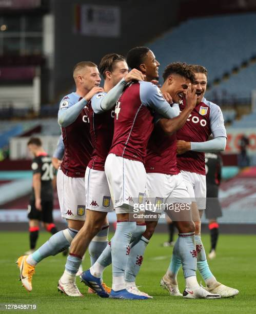 Ollie Watkins of Aston Villa celebrates after he scores his team's fourth goal and his Hattrick during the Premier League match between Aston Villa...