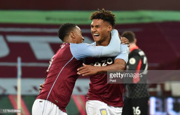 Ollie Watkins of Aston Villa celebrates after he scores his team's fourth goal and his hat-rick during the Premier League match between Aston Villa...