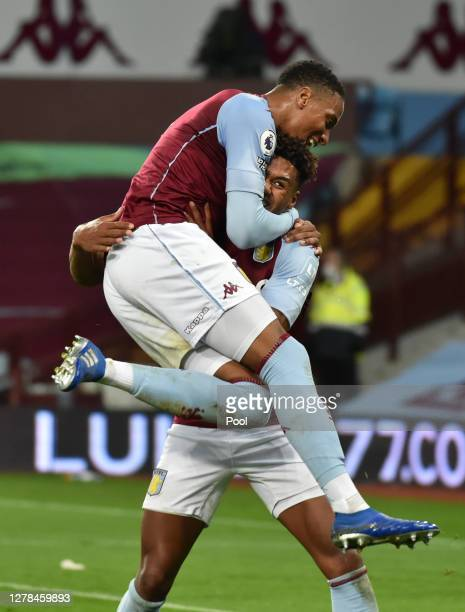 Ollie Watkins of Aston Villa celebrates after he scores his team's fourth goal and his hatrick during the Premier League match between Aston Villa...