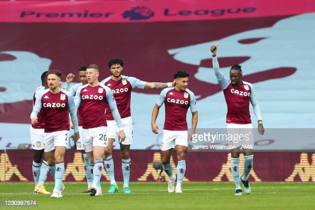 Ollie Watkins of Aston Villa celebrates after scoring a goal to make it 1-0 during the Premier League match between Aston Villa and Arsenal at Villa...