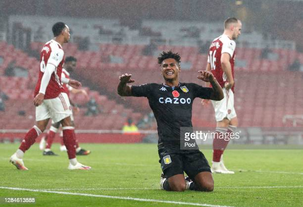 Ollie Watkins of Aston Villa celebrates after scoring his team's second goal during the Premier League match between Arsenal and Aston Villa at...