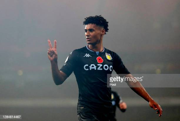 Ollie Watkins of Aston Villa celebrates after scoring his team's third goal during the Premier League match between Arsenal and Aston Villa at...