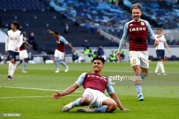 Ollie Watkins of Aston Villa celebrates after scoring their side's second goal during the Premier League match between Tottenham Hotspur and Aston...