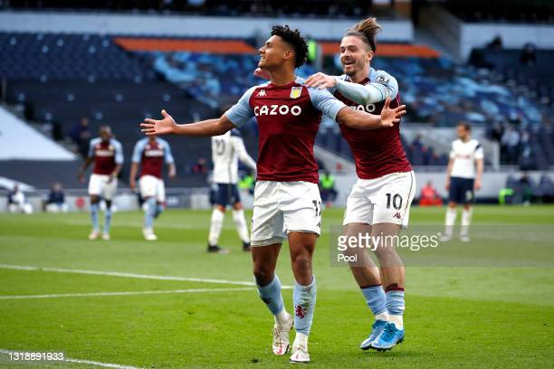 Ollie Watkins of Aston Villa celebrates with team mate Jack Grealish after scoring their side's second goal during the Premier League match between...