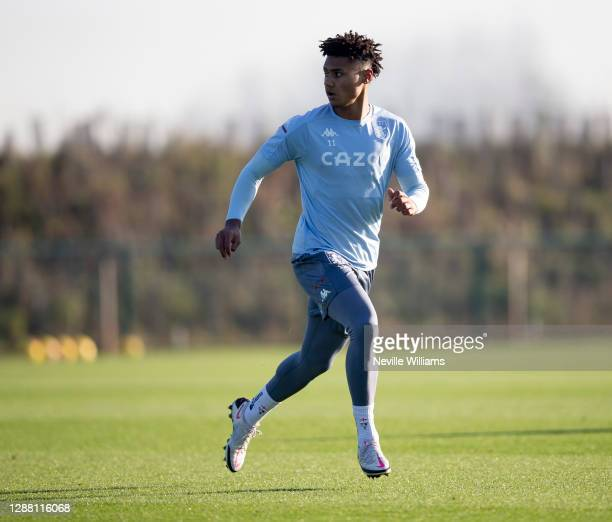 Ollie Watkins of Aston Villa in action during a training session at Bodymoor Heath training ground on November 26 2020 in Birmingham England