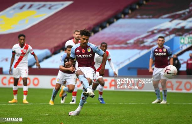 Ollie Watkins of Aston Villa scores a penalty for his team's second goal during the Premier League match between Aston Villa and Southampton at Villa...