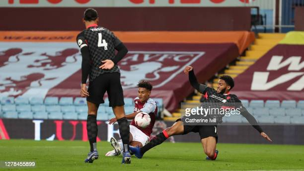 Ollie Watkins of Aston Villa scores his sides second goal during the Premier League match between Aston Villa and Liverpool at Villa Park on October...