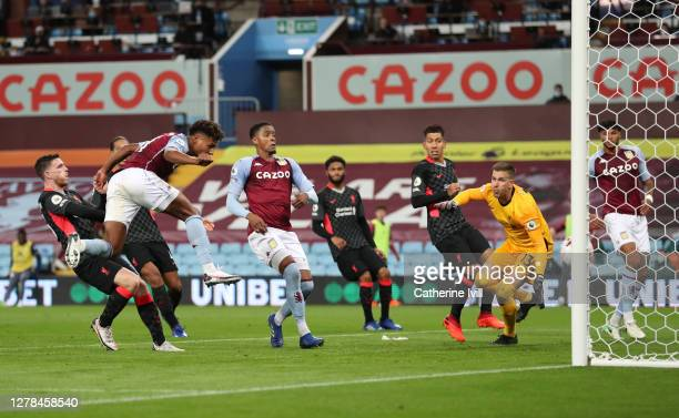 Ollie Watkins of Aston Villa scores his team's fourth goal and his Hat-trick during the Premier League match between Aston Villa and Liverpool at...