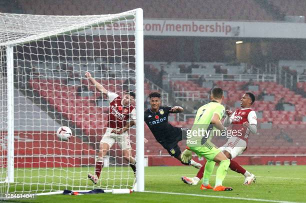 Ollie Watkins of Aston Villa scores his team's second goal during the Premier League match between Arsenal and Aston Villa at Emirates Stadium on...