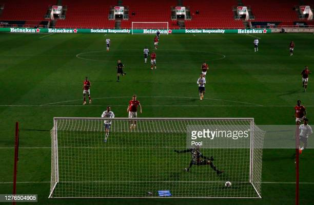 Ollie Watkins of Aston Villa scores his teams third goal past Max O'Leary of Bristol City during the Carabao Cup third round match between Bristol...