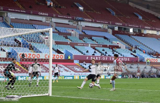 Ollie Watkins of Aston Villa scores their side's third goal during the Premier League match between Aston Villa and Fulham at Villa Park on April 04,...