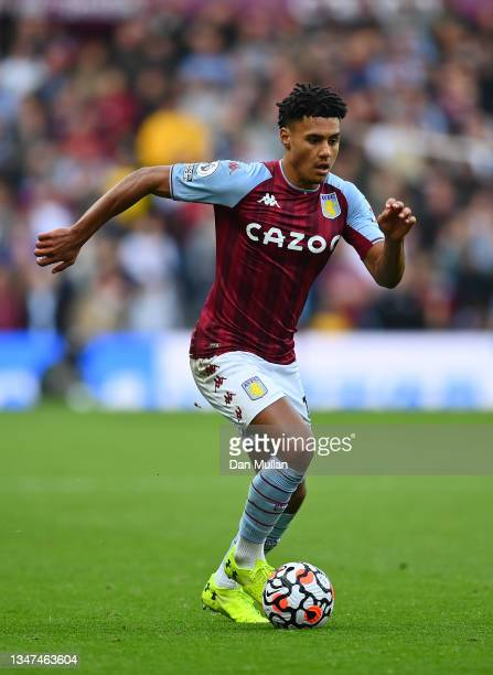 Ollie Watkins of Aston Villa takes the ball forward during the Premier League match between Aston Villa and Wolverhampton Wanderers at Villa Park on...