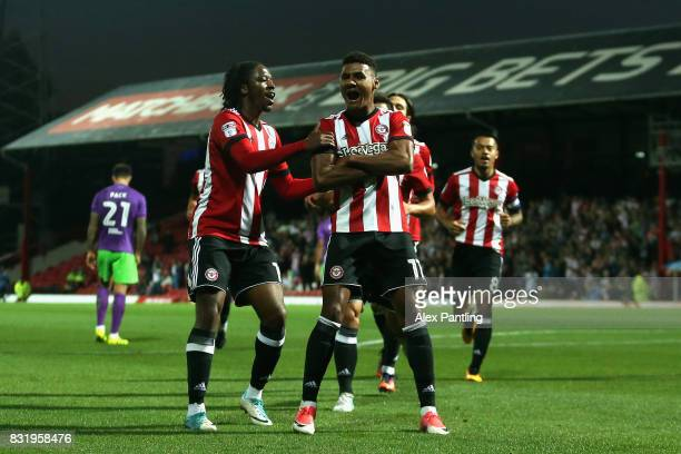 Ollie Watkins of Brentford celebrates after scoring his sides first goal during the Sky Bet Championship match between Brentford and Bristol City at...