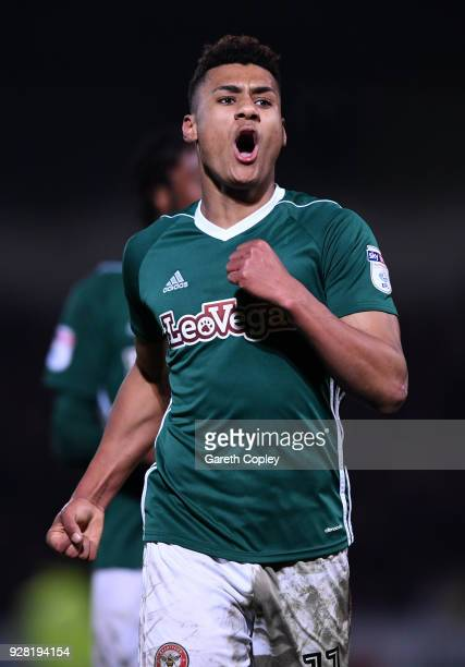 Ollie Watkins of Brentford celebrates after scoring his sides second goal during the Sky Bet Championship match between Burton Albion and Brentford...