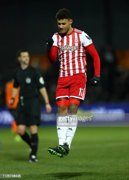 Ollie Watkins of Brentford celebrates scoring the opening goal during the FA Cup Fourth Round match between Barnet and Brentford at The Hive on...