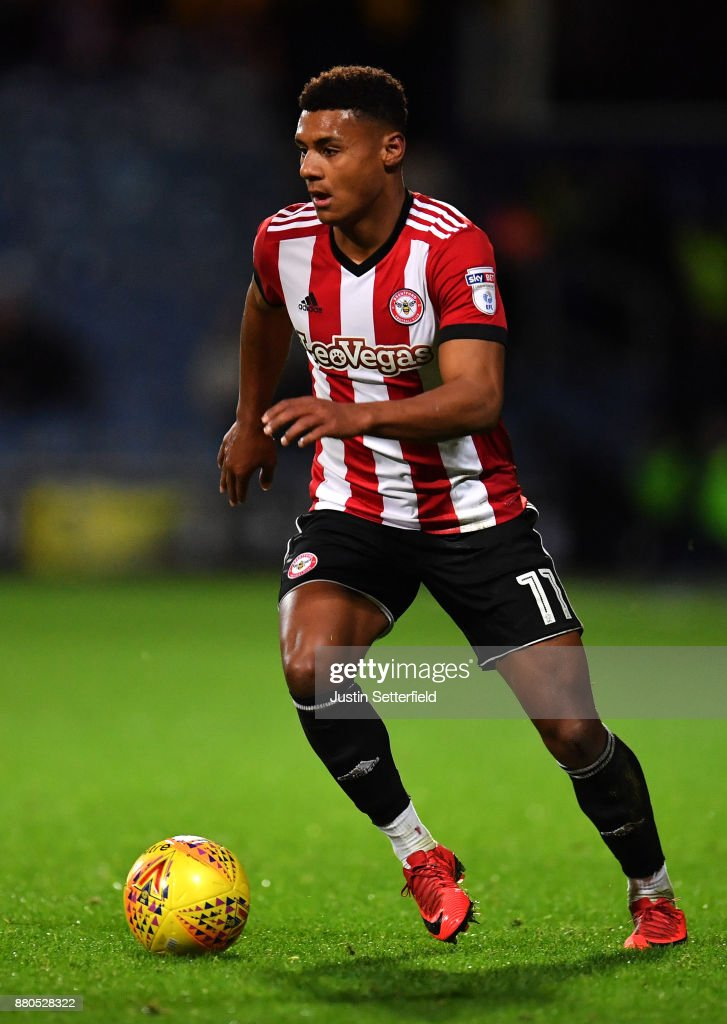 Ollie Watkins of Brentford during the Sky Bet Championship match between Queens Park Rangers and Brentford at Loftus Road on November 27, 2017 in London, England.