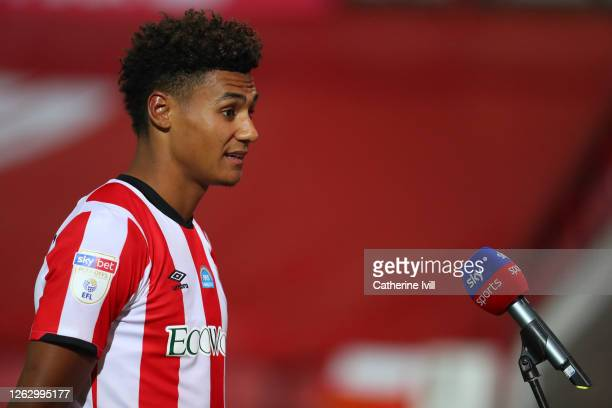 Ollie Watkins of Brentford is interviewed after the Sky Bet Championship Play Off Semifinal 2nd Leg match between Brentford and Swansea City at...