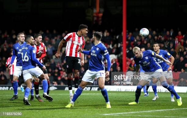 Ollie Watkins of Brentford scores his sides second goal during the Sky Bet Championship match between Brentford and Cardiff City at Griffin Park on...
