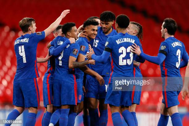 Ollie Watkins of England celebrates with teammates James Ward-Prowse, Jesse Lingard, Tyrone Mings, Jude Bellingham, Kalvin Phillips and Ben Chilwell...