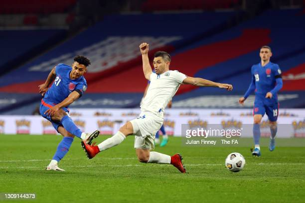 Ollie Watkins of England scores his team's fifth goal during the FIFA World Cup 2022 Qatar qualifying match between England and San Marino at Wembley...