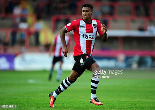 Ollie Watkins of Exeter City during the Pre Season Friendly match between Exeter City and Cardiff City at St James Park on July 28, 2016 in Exeter,...