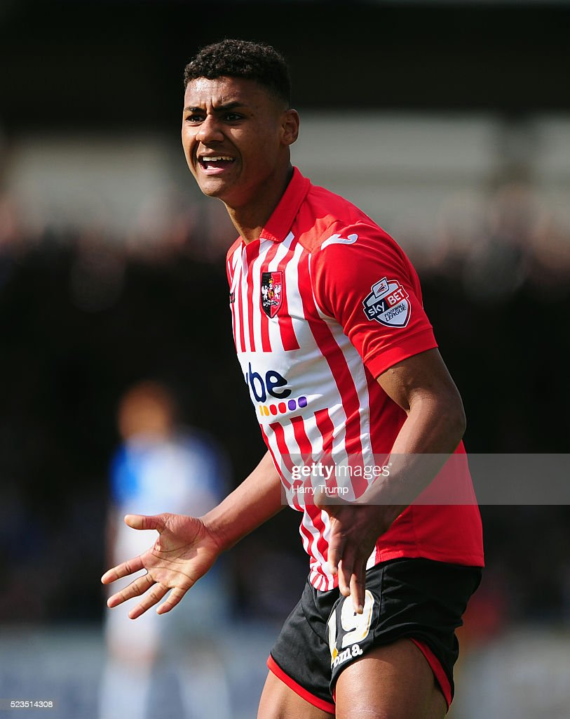 Ollie Watkins of Exeter City reacts during the Sky Bet League Two match between Bristol Rovers and Exeter City at the Memorial Stadium on April 23, 2016 in Bristol, England.