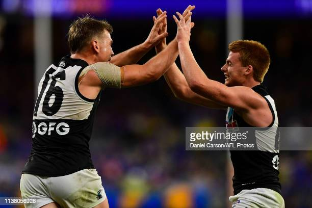 Ollie Wines of the Power celebrates after scoring a goal during the 2019 AFL round 05 match between the West Coast Eagles and the Port Adelaide Power...