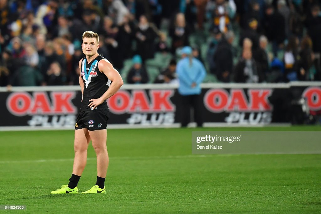 Ollie Wines of the Power looks on dejected after the AFL First Elimination Final match between Port Adelaide Power and West Coast Eagles at Adelaide Oval on September 9, 2017 in Adelaide, Australia.