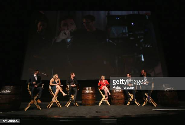 Ollie Wolf Alice Cogin Jason Manella moderator Terri White producer Dana Brunetti and actor Dominic West onstage at Jameson First Shot at Paramount...