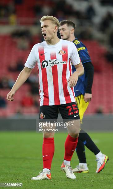 Ollie Younger of Sunderland during the Papa John's Trophy match between Sunderland and Manchester United at Stadium of Light on October 13, 2021 in...