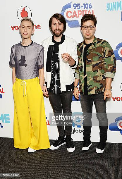 Olly Alexander Mikey Goldsworthy and Emre Turkman of Years Years arrive for Capital's Summertime Ball at Wembley Stadium on June 11 2016 in London...